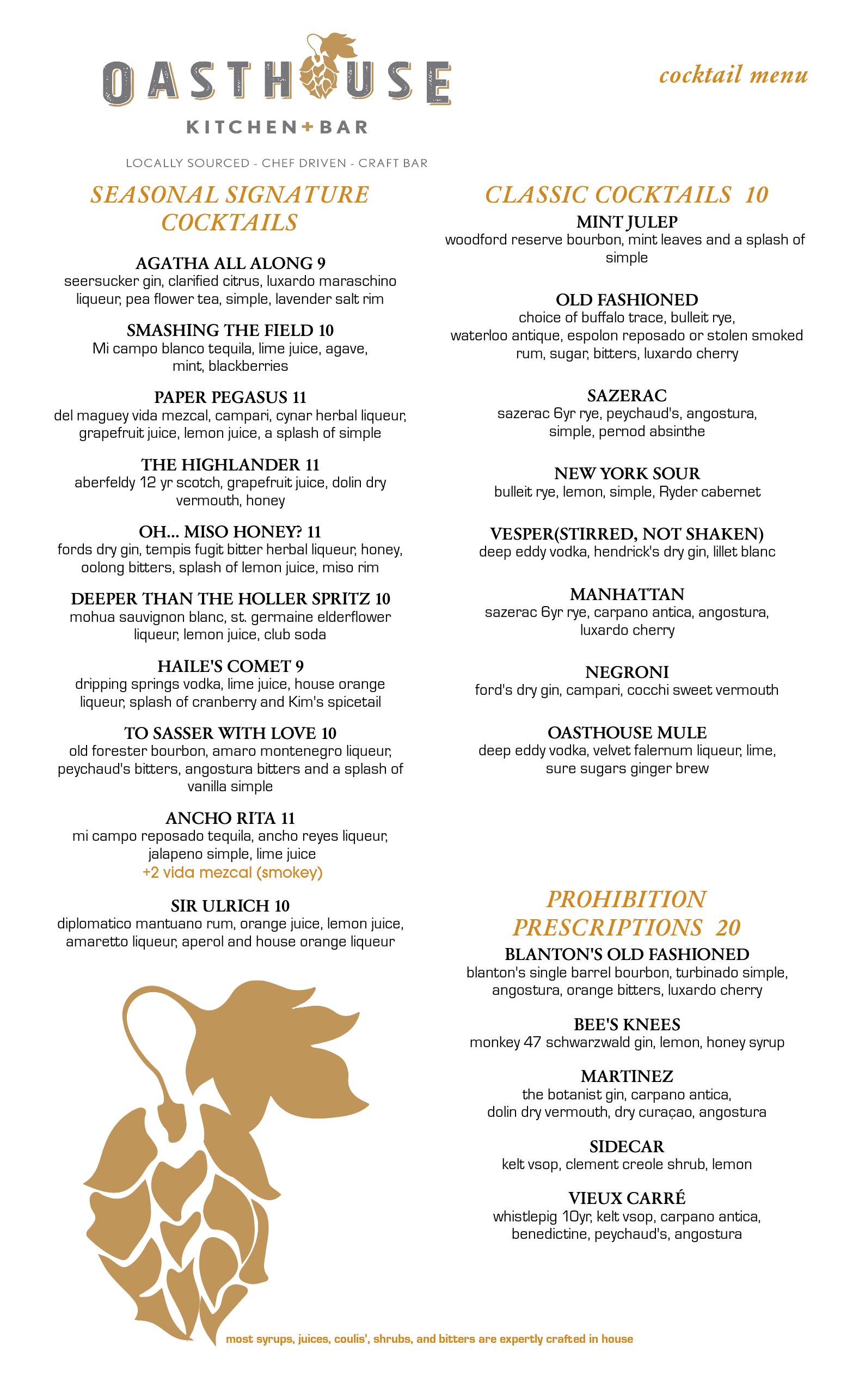 Dine in Cocktail Menu