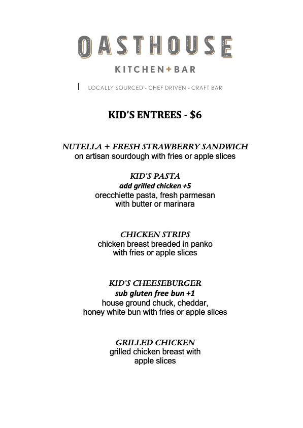 Kids menu spring