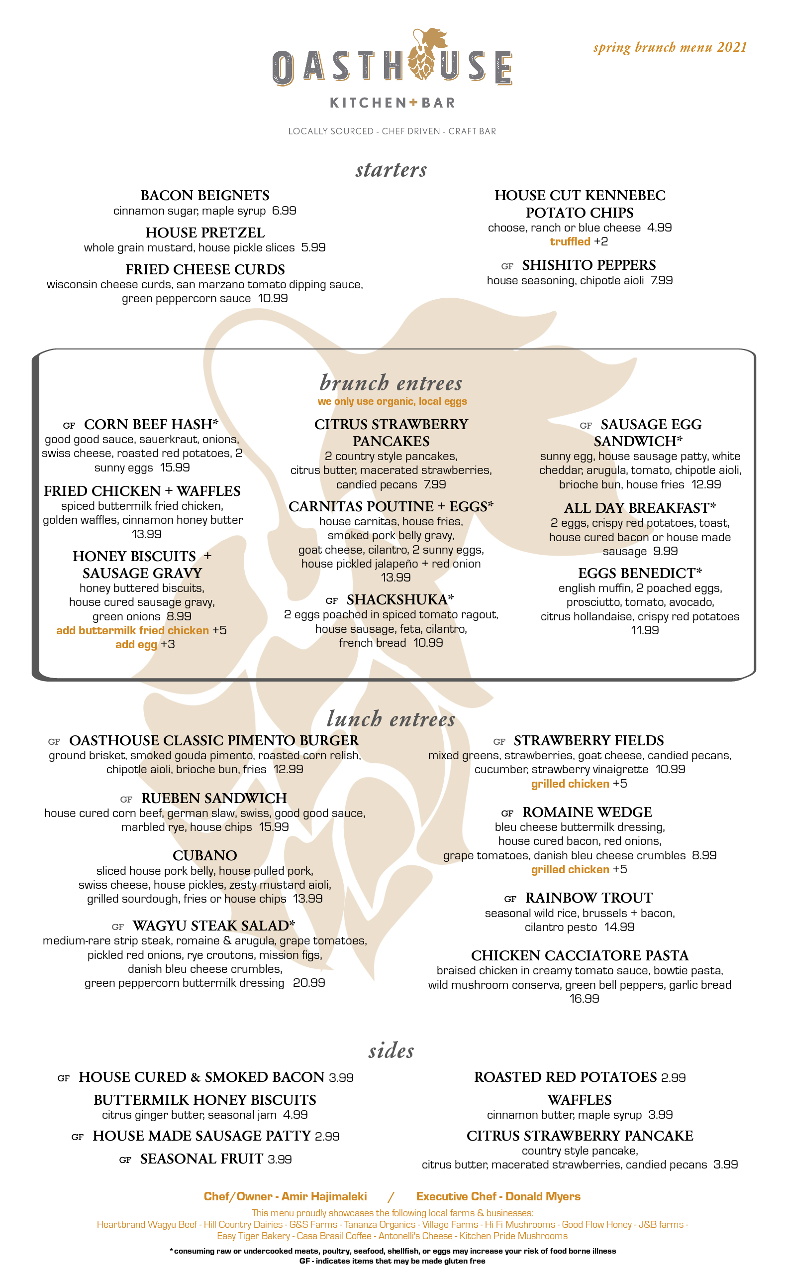 Spring Brunch Menu Dine in 2021